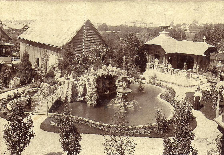 Tuffsteingrotte, Weiher und Garten-Chalet um 1900