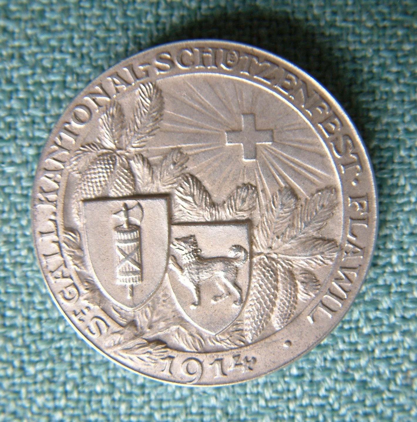 Schützenmedaille des Kantonal-Schützenfestes Flawil von 1914