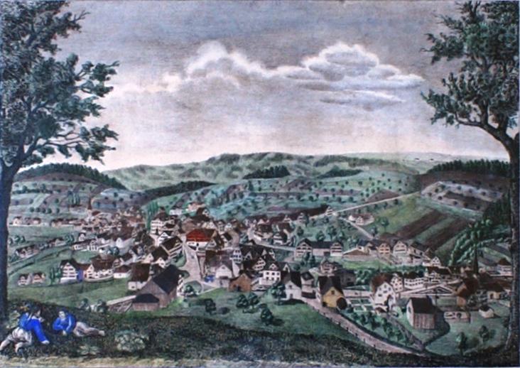 Colorierte Lithografie des Flawiler Malers J.J. Lüthi von 1844. Älteste bekannte Ansicht von Flawil, aufgenommen ab der Stocken