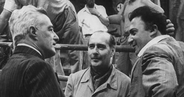 Da sinistra: Vittorio De Sica, Roberto Rossellini e Federico Fellini