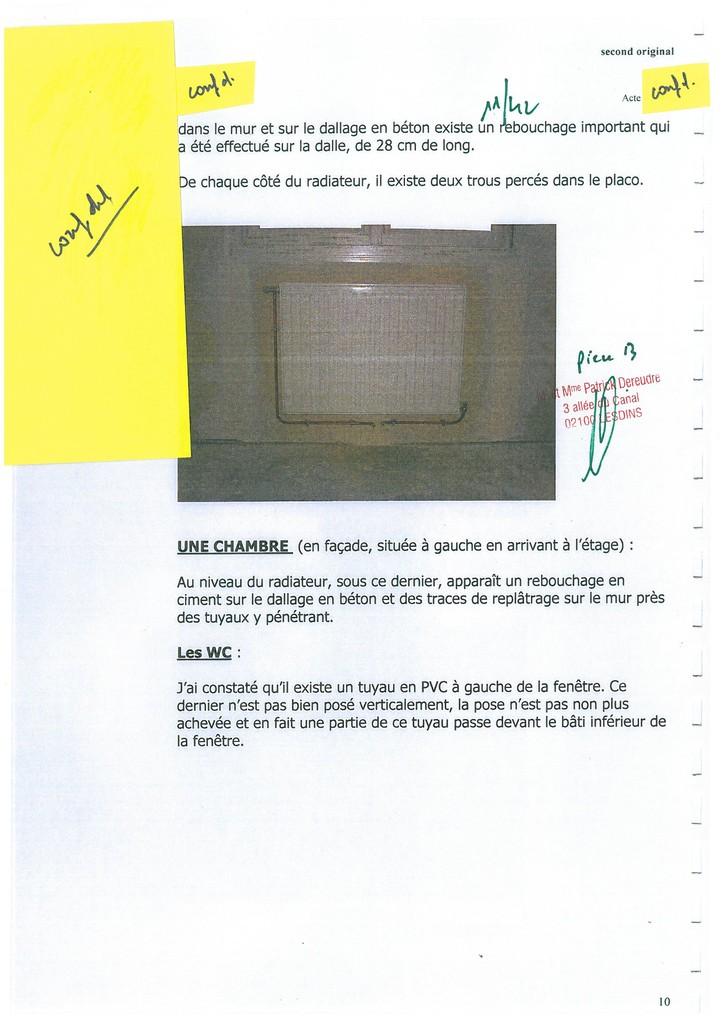 Pièce N° 13 page 11/42 Constat d'huissier du 8 & 9 Septembre 2008  voir site www.maisonnonconforme.fr