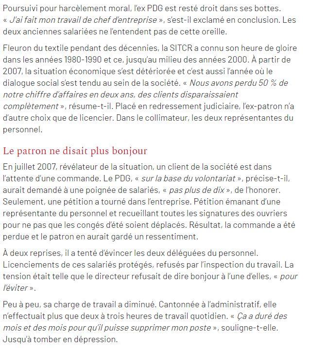 Article du Courrier Picard du 17 Juin 2014 HARCELEMENT MORAL à la SITCR le PDG Monsieur Philippe REMY a comparu devant le Tribunal Correctionnel www.jenesuispasunchien.fr www.jesuisvictime.fr www.jesuispatrick.fr