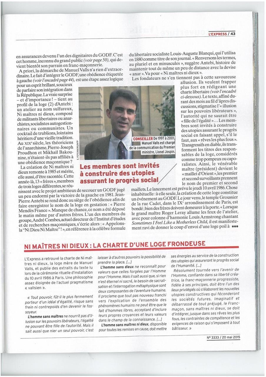 L'EXPRESS N°3333 du 20 au 26 mai 2015 Un Franc-Maçon nommé VALLS Page 42   voir site www.maisonnonconforme.fr
