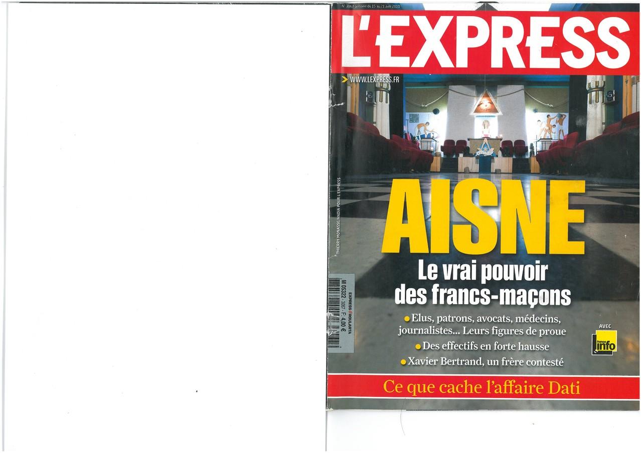 L'EXPRESS N°3067 du 15 au 21 avril 2010 (Couverture)site www.maisonnonconforme.fr