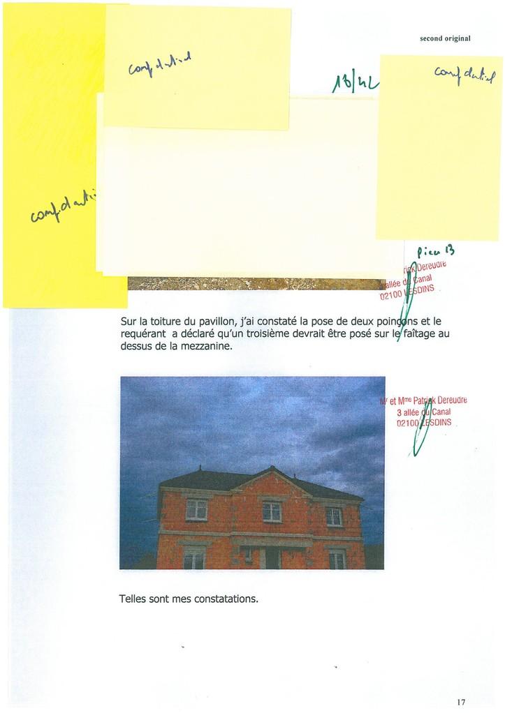 Pièce N° 13 page 18/42 Constat d'huissier du 8 & 9 Septembre 2008  voir site www.maisonnonconforme.fr