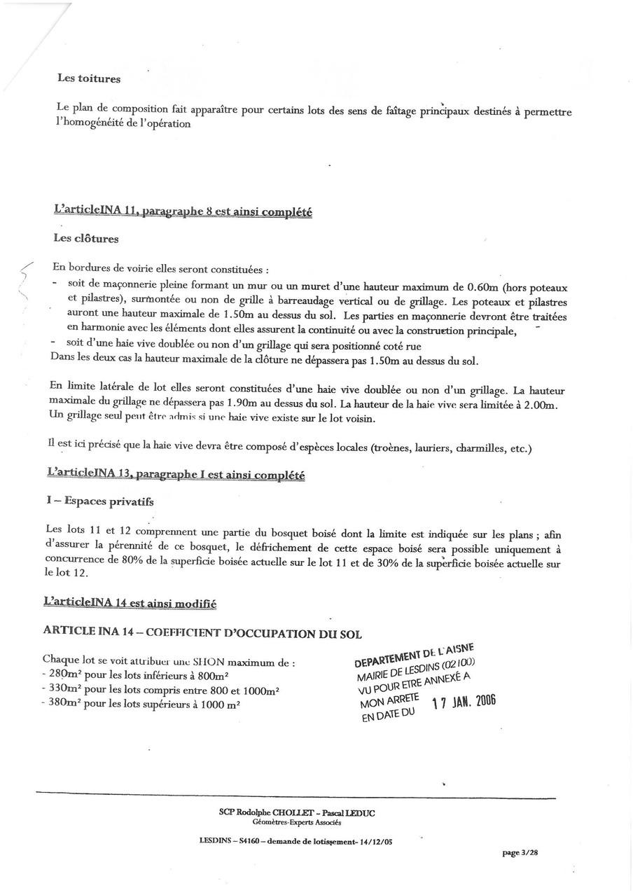 Cahier des charges du lotissement LA MALADRERIE à LESDINS Page 3 sur 28   voir site www.maisonnonconforme.fr