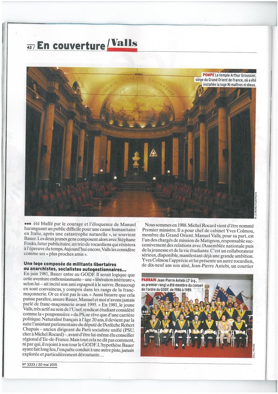 L'EXPRESS N°3333 du 20 au 26 mai 2015 Un Franc-Maçon nommé VALLS Page 41   voir site www.maisonnonconforme.fr