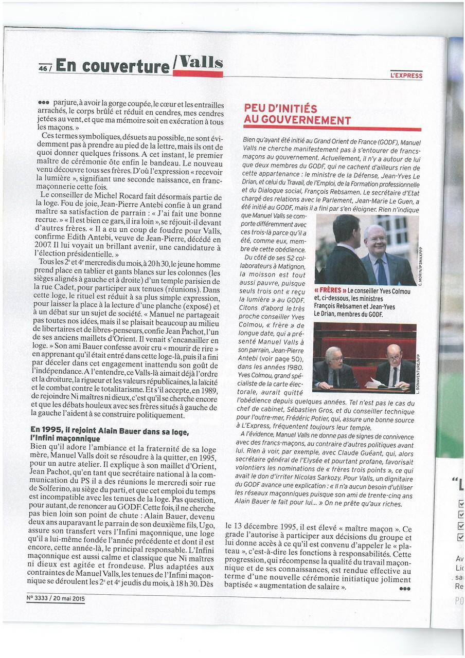 L'EXPRESS N°3333 du 20 au 26 mai 2015 Un Franc-Maçon nommé VALLS Page 46   voir site www.maisonnonconforme.fr