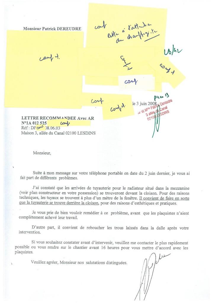 Pièce N° 13 page 28/42 Constat d'huissier du 8 & 9 Septembre 2008  voir site www.maisonnonconforme.fr
