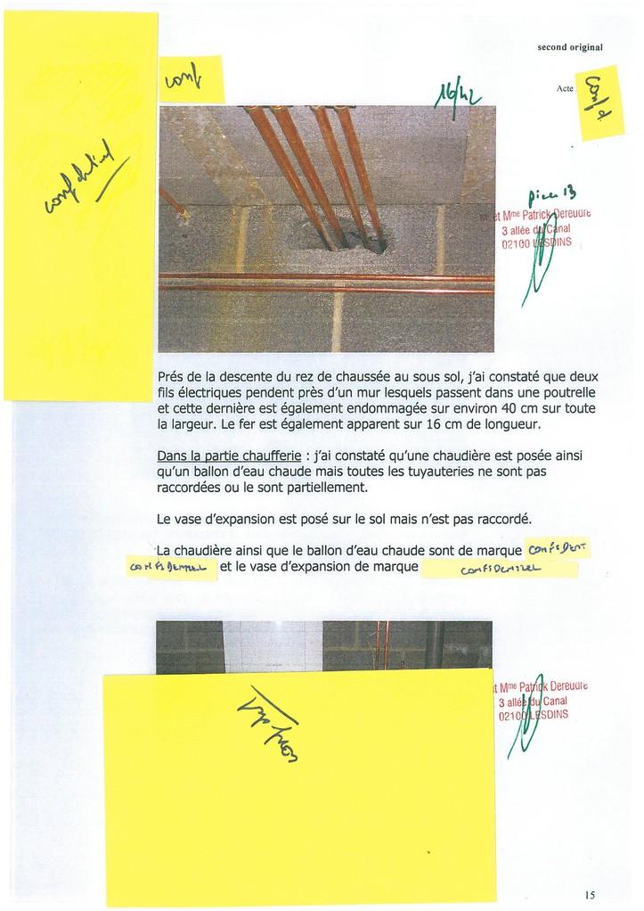 Pièce N° 13 page 16/42 Constat d'huissier du 8 & 9 Septembre 2008  voir site www.maisonnonconforme.fr