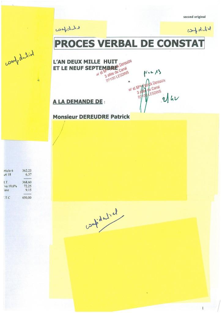 Pièce N° 13 page 2/42 Constat d'huissier du 8 & 9 Septembre 2008  voir site www.maisonnonconforme.fr