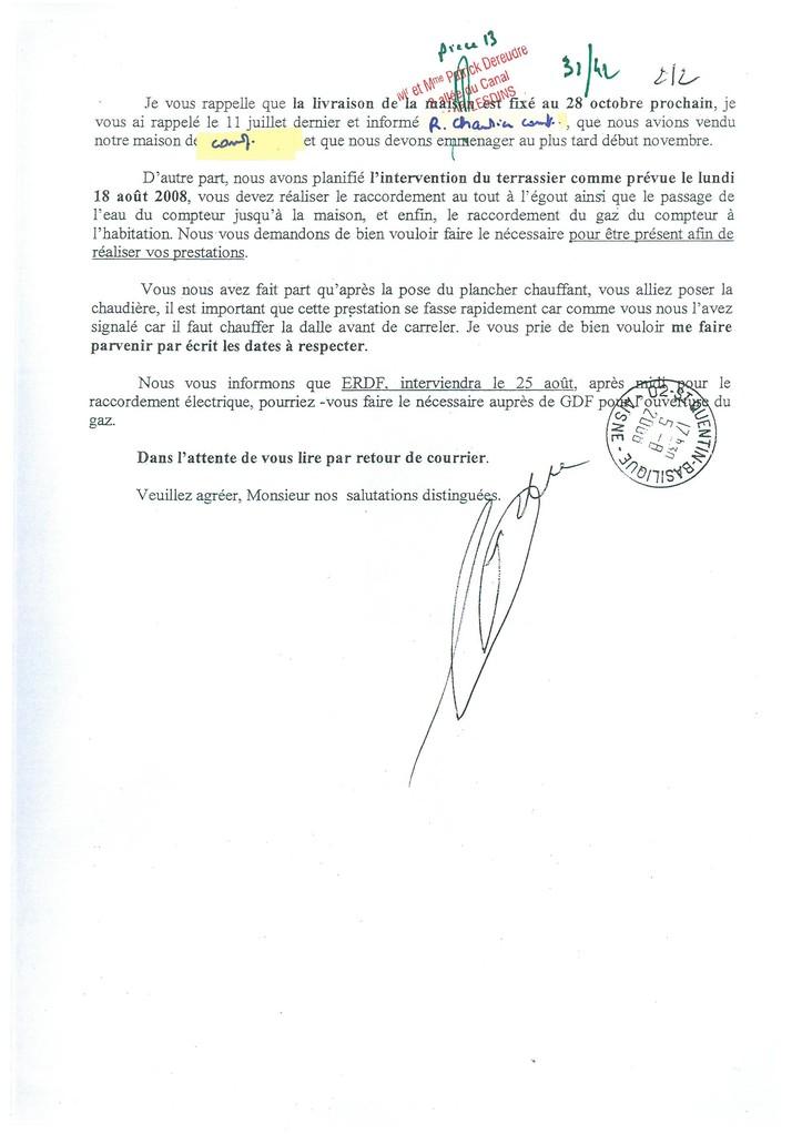 Pièce N° 13 page 31/42 Constat d'huissier du 8 & 9 Septembre 2008  voir site www.maisonnonconforme.fr