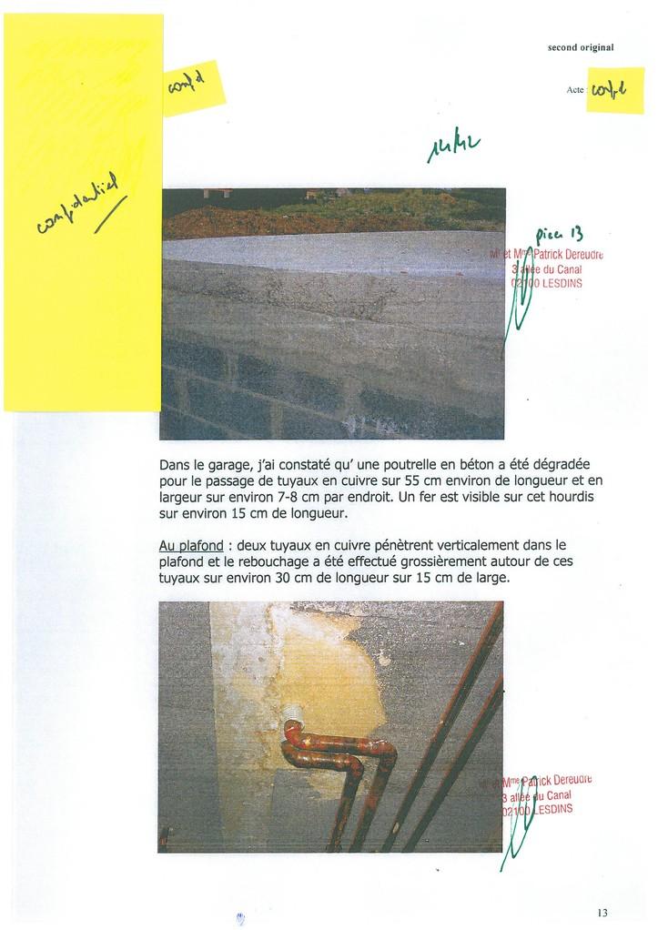Pièce N° 13 page 14/42 Constat d'huissier du 8 & 9 Septembre 2008  voir site www.maisonnonconforme.fr