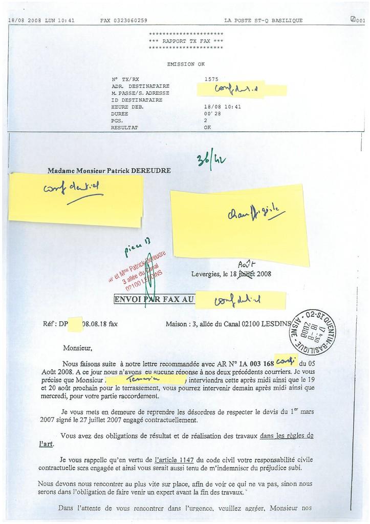 Pièce N° 13 page 36/42 Constat d'huissier du 8 & 9 Septembre 2008  voir site www.maisonnonconforme.fr