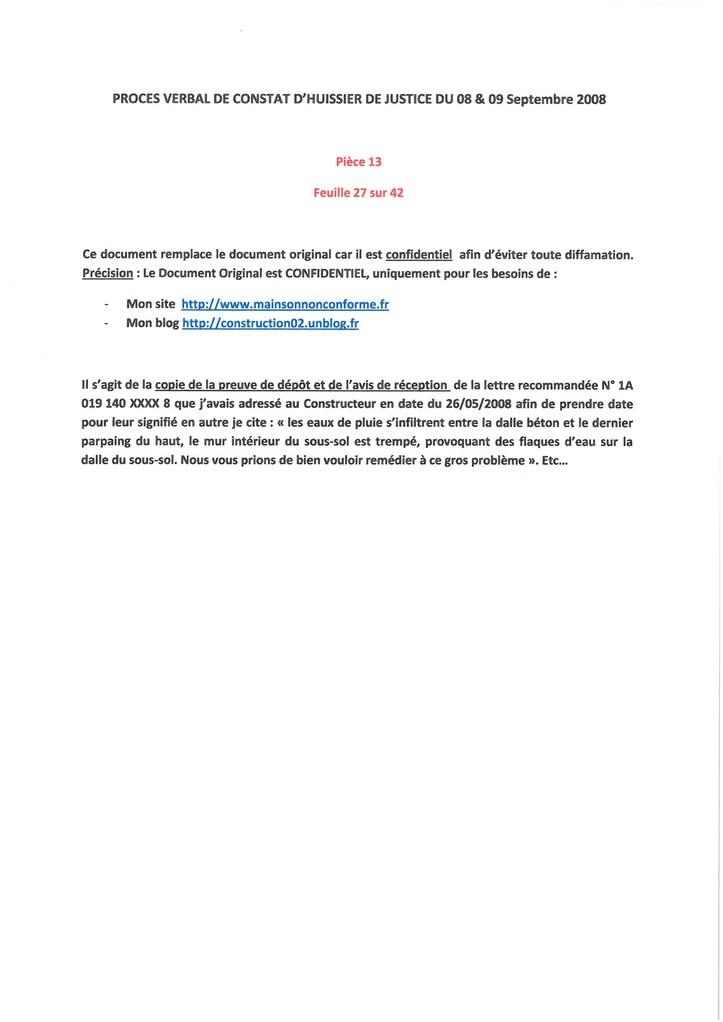 Pièce N° 13 page 27/42 Constat d'huissier du 8 & 9 Septembre 2008  voir site www.maisonnonconforme.fr