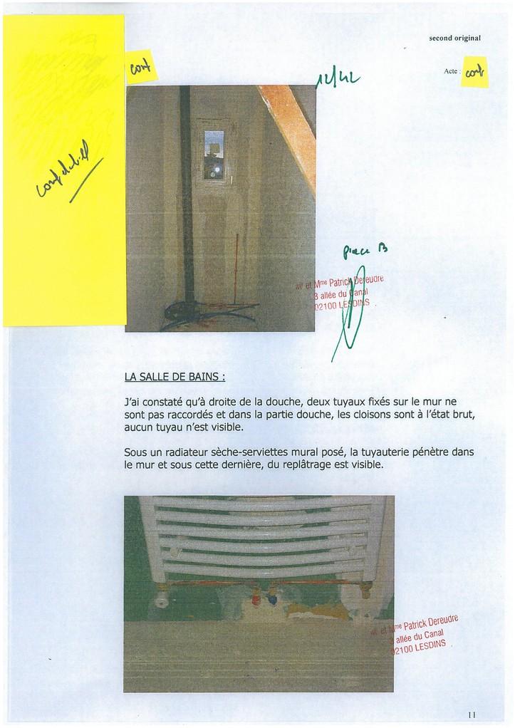 Pièce N° 13 page 12/42 Constat d'huissier du 8 & 9 Septembre 2008  voir site www.maisonnonconforme.fr