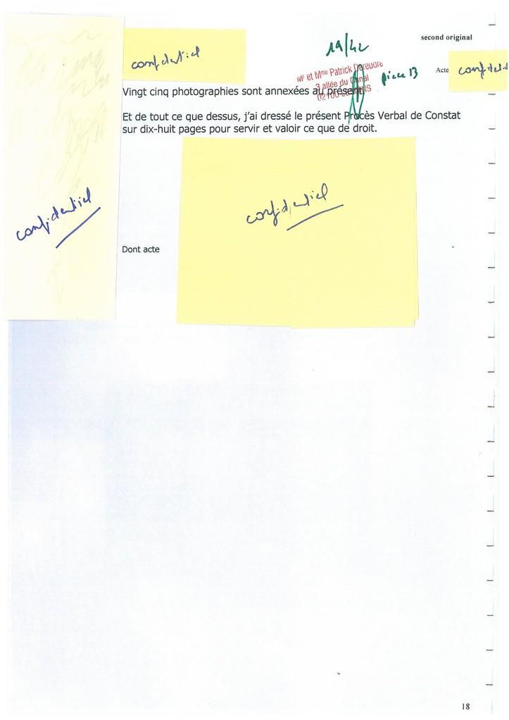 Pièce N° 13 page 19/42 Constat d'huissier du 8 & 9 Septembre 2008  voir site www.maisonnonconforme.fr