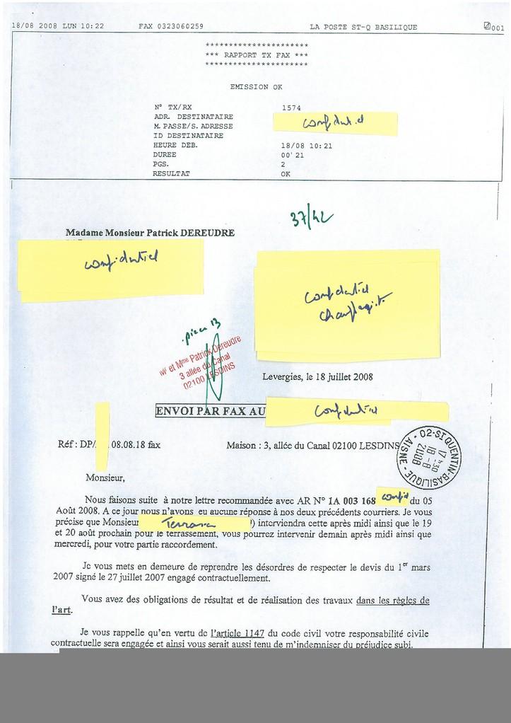 Pièce N° 13 page 37/42 Constat d'huissier du 8 & 9 Septembre 2008  voir site www.maisonnonconforme.fr