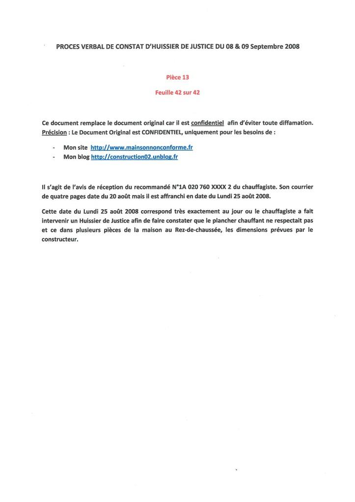 Pièce N° 13 page 42/42 Constat d'huissier du 8 & 9 Septembre 2008  voir site www.maisonnonconforme.fr