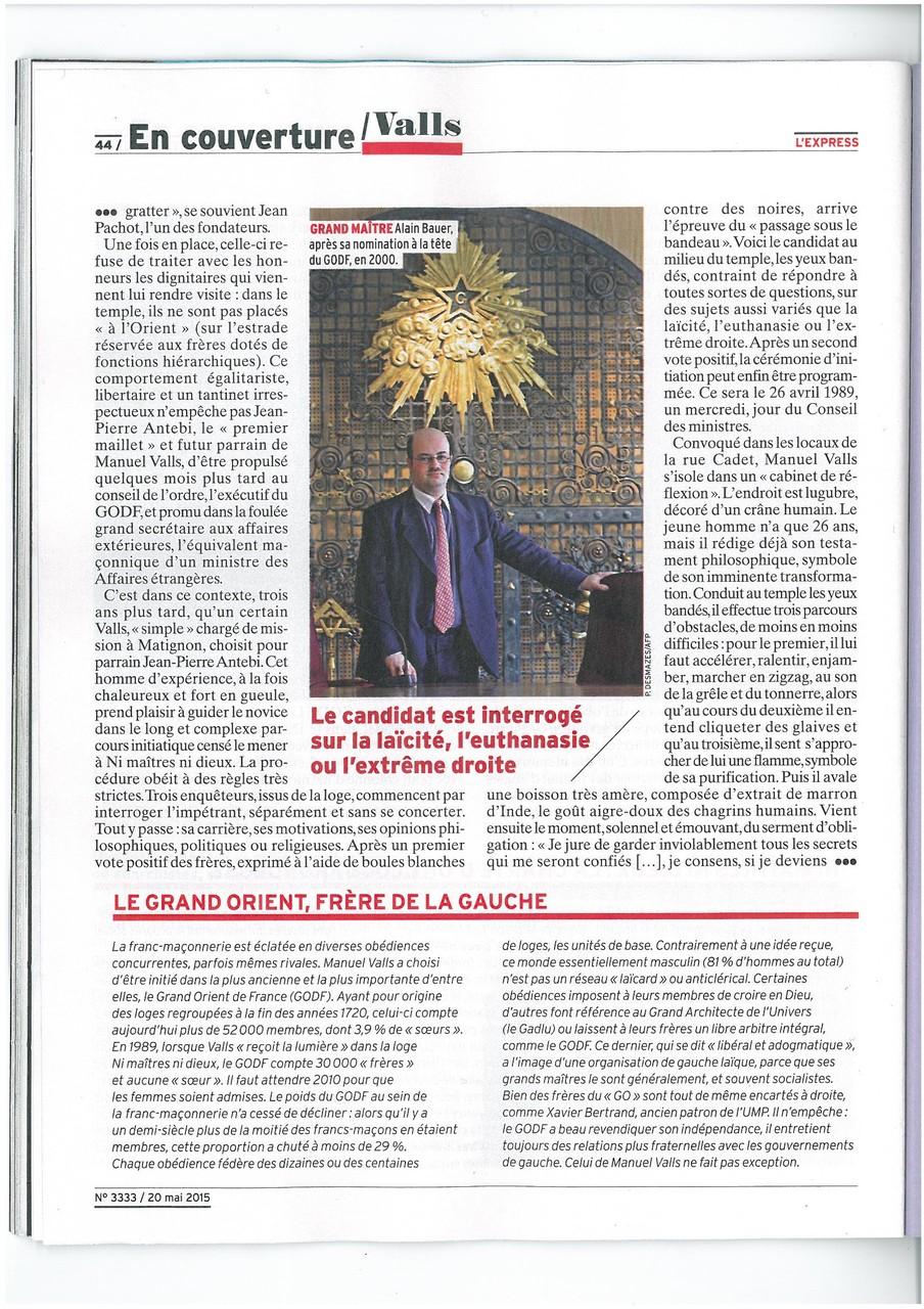 L'EXPRESS N°3333 du 20 au 26 mai 2015 Un Franc-Maçon nommé VALLS Page 44   voir site www.maisonnonconforme.fr
