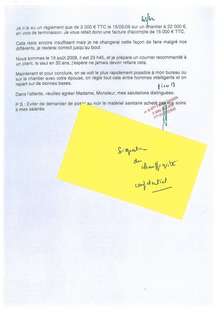 Pièce N° 13 page 41/42 Constat d'huissier du 8 & 9 Septembre 2008  voir site www.maisonnonconforme.fr
