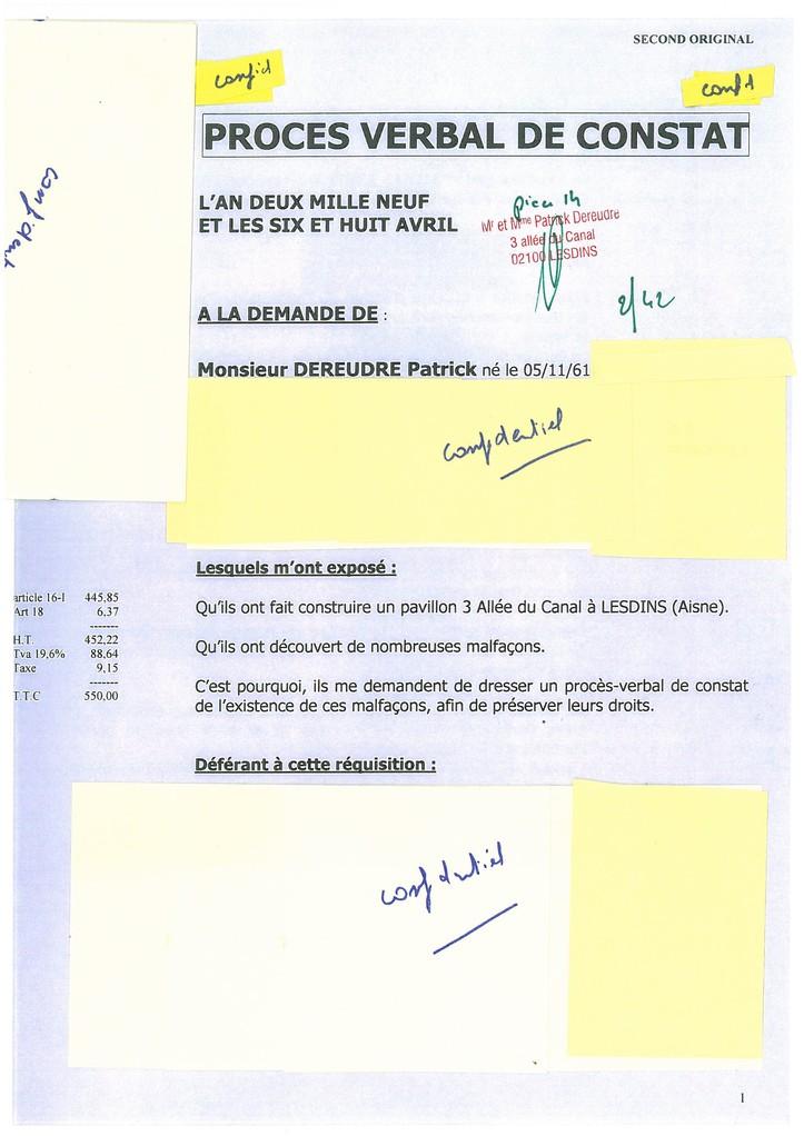 Pièce 14 Page 2/42 Constat d'huissier du 06 & 08 Avril 2009  voir site www.maisonnonconforme.fr