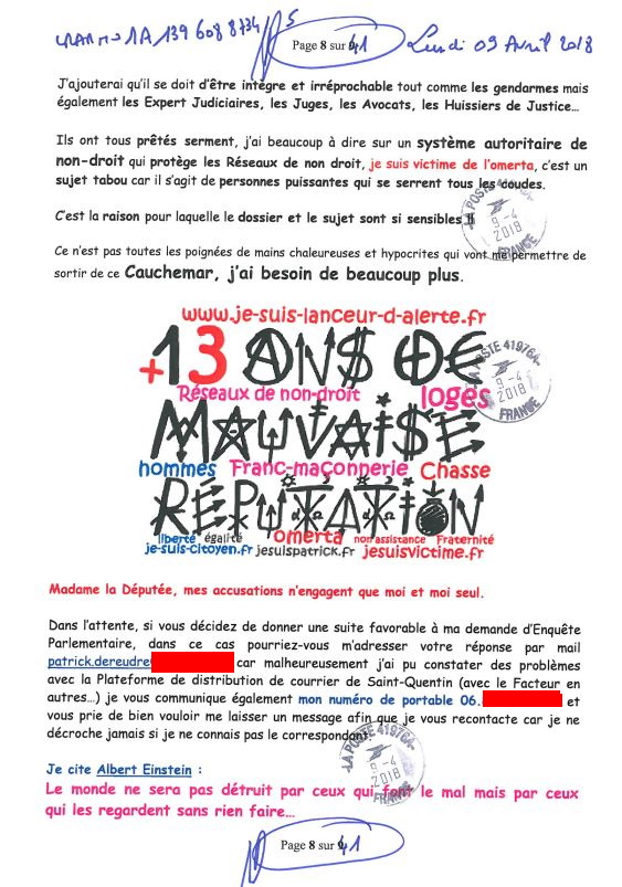 Ma lettre recommandée du 02 Octobre 2018 N° 1A 143 316 6265 3  adressée à Madame Barbara POMPILI Députée de la Somme NON ASSISTANCE A PERSONNE EN DANGER www.jesuispatrick.fr www.jesuisvictime.fr www.jenesuispasunchien.fr