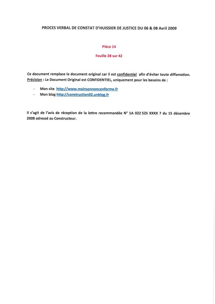 Pièce 14 Page 28/42 Constat d'huissier du 06 & 08 Avril 2009  voir site www.maisonnonconforme.fr