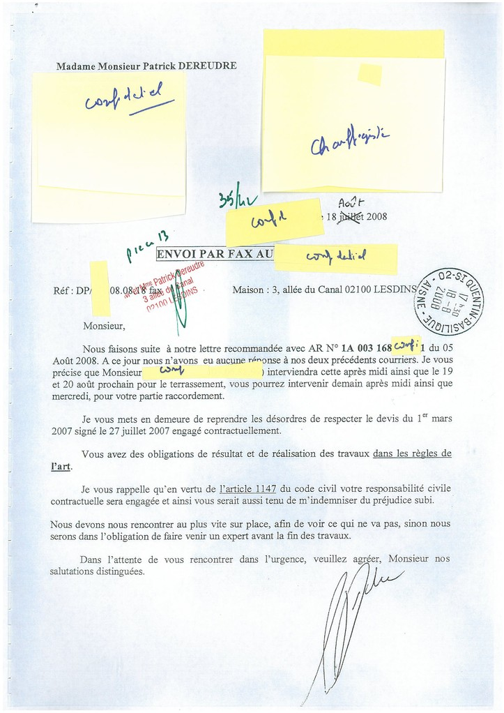 Pièce N° 13 page 35/42 Constat d'huissier du 8 & 9 Septembre 2008  voir site www.maisonnonconforme.fr