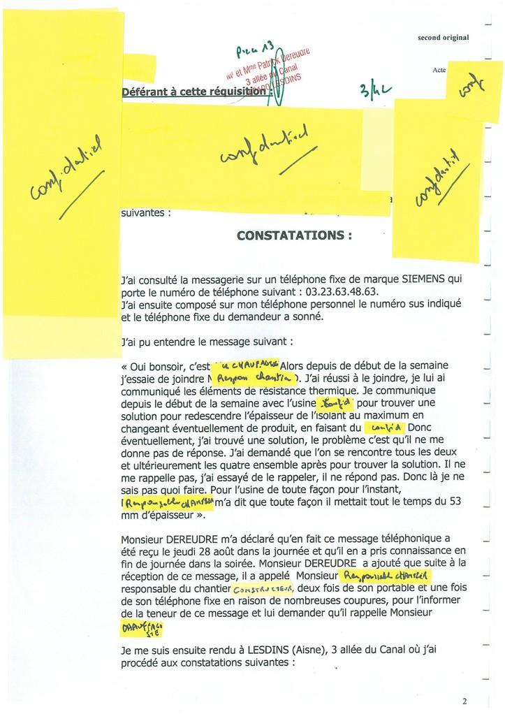 Pièce N° 13 page 3/42 Constat d'huissier du 8 & 9 Septembre 2008  voir site www.maisonnonconforme.fr