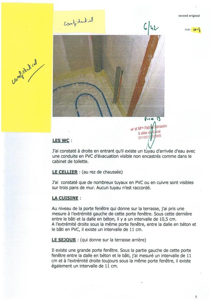 Pièce N° 13 page 6/42 Constat d'huissier du 8 & 9 Septembre 2008  voir site www.maisonnonconforme.fr