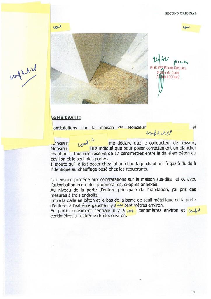 Pièce 14 Page 22/42 Constat d'huissier du 06 & 08 Avril 2009  voir site www.maisonnonconforme.fr
