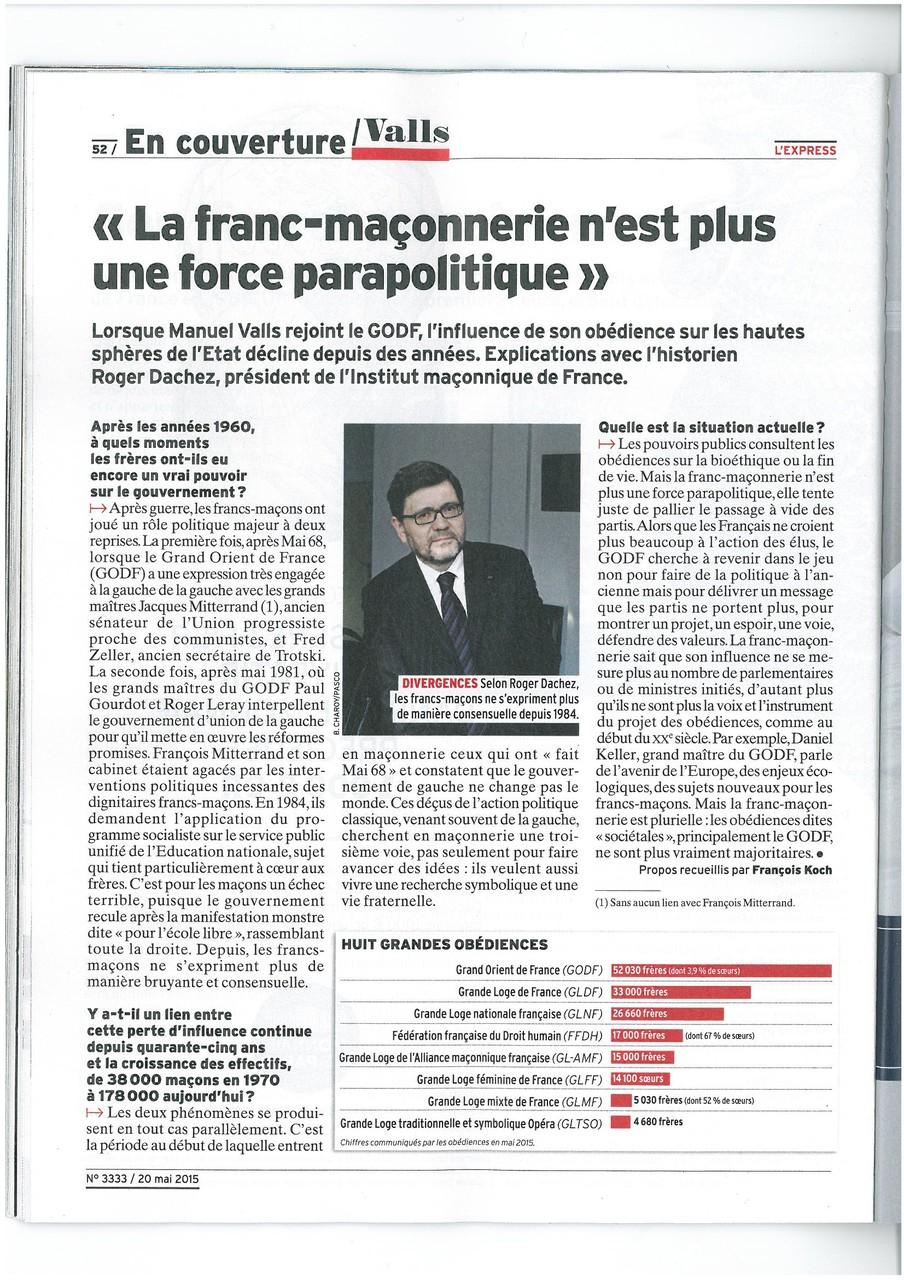 L'EXPRESS N°3333 du 20 au 26 mai 2015 Un Franc-Maçon nommé VALLS Page 50   voir site www.maisonnonconforme.fr