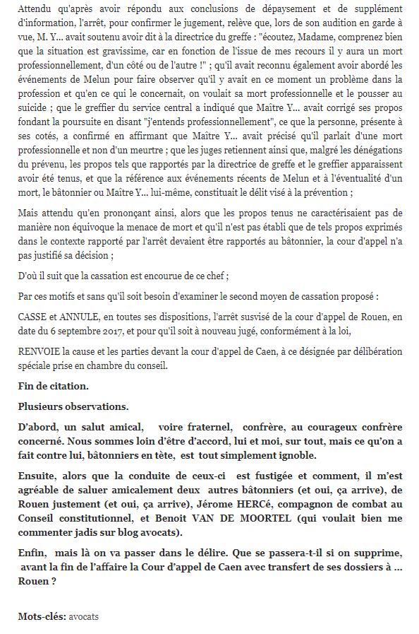 IL s'en passe de Belles au Barreau de Rouen Facebook WIL PIRS Maître Wildfried PARIS AVOCAT DISSISENT Menacé de mort en FRANCE www.jesuispatrick.fr ALERTE ROUGE www.alerterouge-france.fr