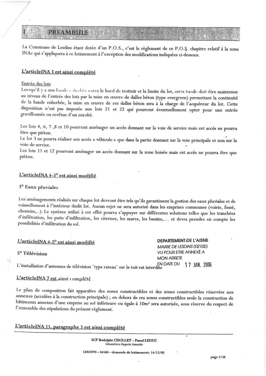 Cahier des charges du lotissement LA MALADRERIE à LESDINS Page 2 sur 28   voir site www.maisonnonconforme.fr