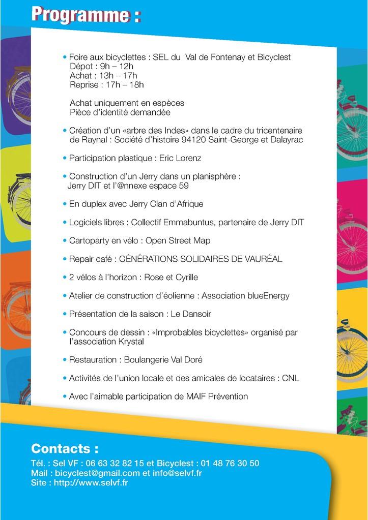 Programme - Verso du Flyer A5