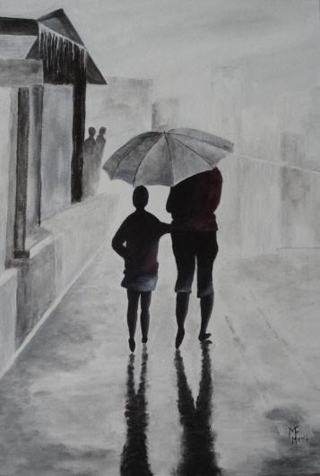 Sous la pluie en gris