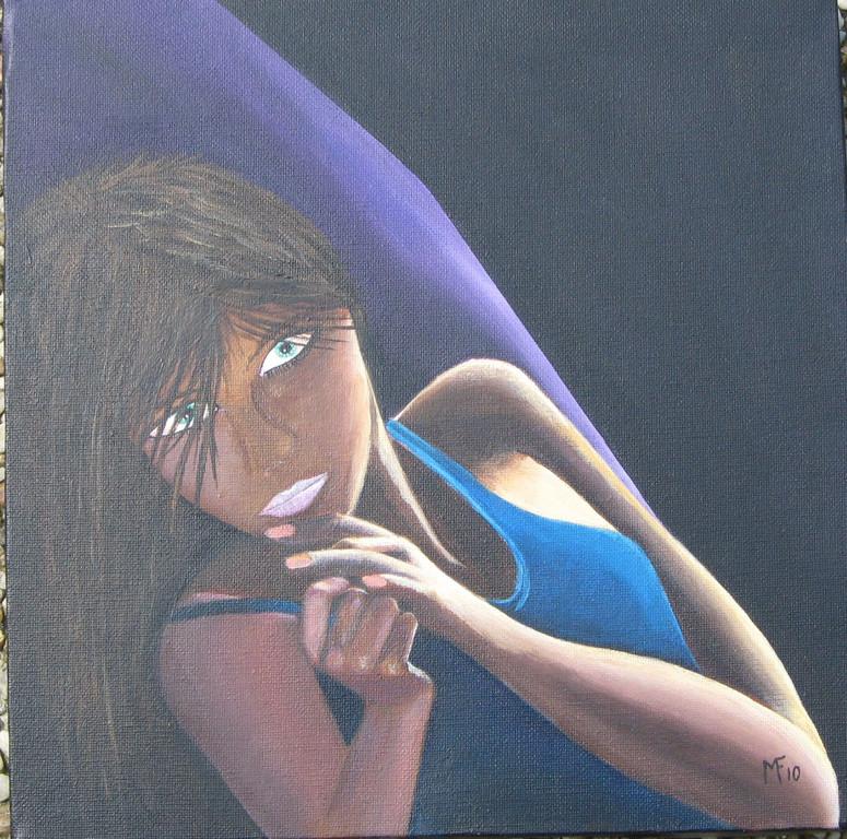 Femme au transat bleue ( d'après une pub)