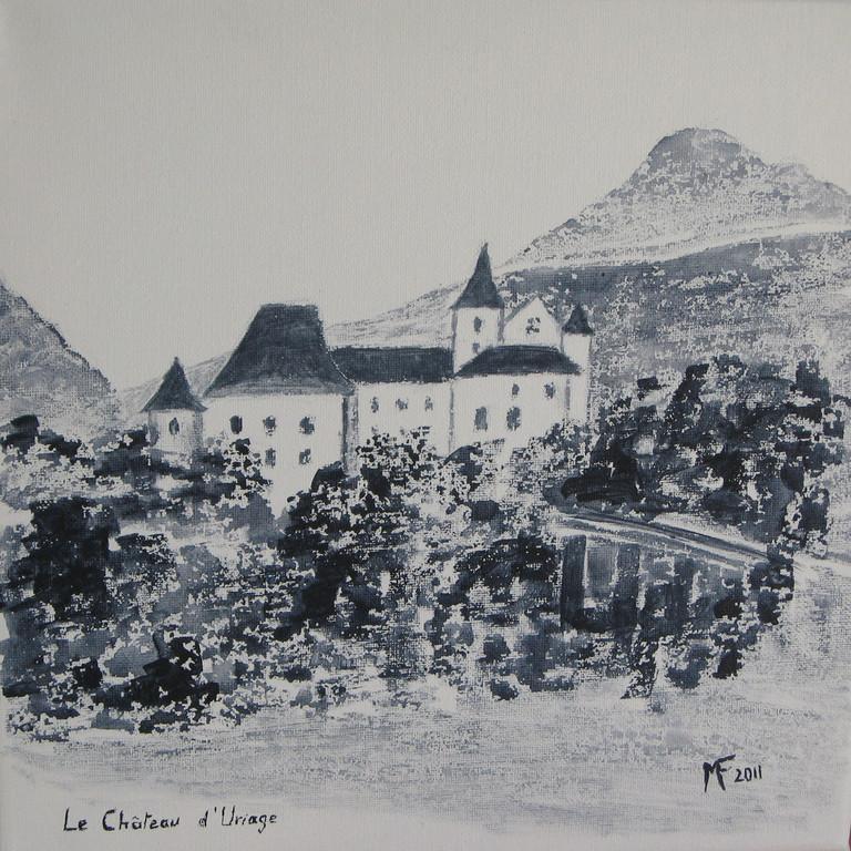 le Château d'Uriage ( croquis fait sur le vif en lavis de gris de Payne)