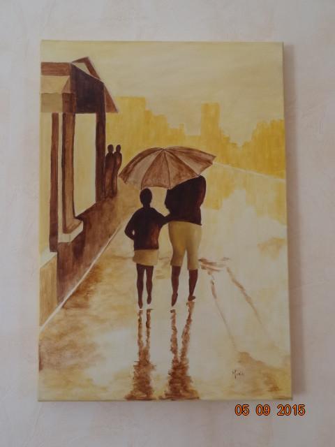 Sous la pluie en jaune