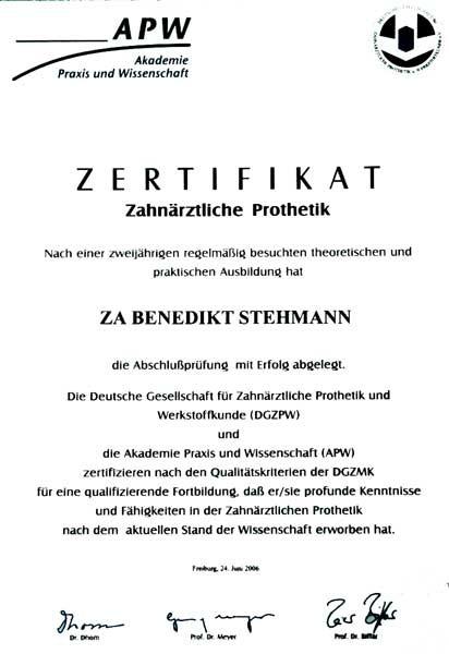 Zertifikat-Prothetik - Zahnheilkunde und Dentaltechnik