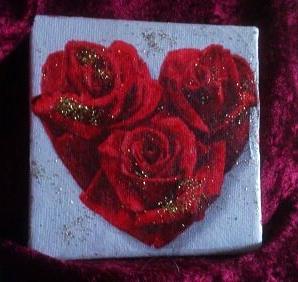 """""""Für Verliebte"""" ein süßes Geschenk - 10 x 10 cm Leinwand-Keilrahmen"""