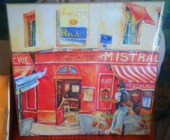 """""""Bistro"""" erinnert uns an einen Besuch in Frankreich - 30 x 30 cm Leinwand-Keilrahmen"""