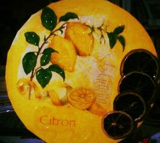 """""""Zitronen"""" Da denkt man gleich an den """"Süden"""" - 25 cm Durchm. Leinwand-Keilrahmen"""