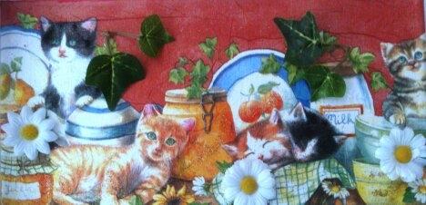 """""""Kleine Katzen"""" fühlen sich hier sehr wohl - 15 x 30 cm Leinwand-Keilrahmen"""