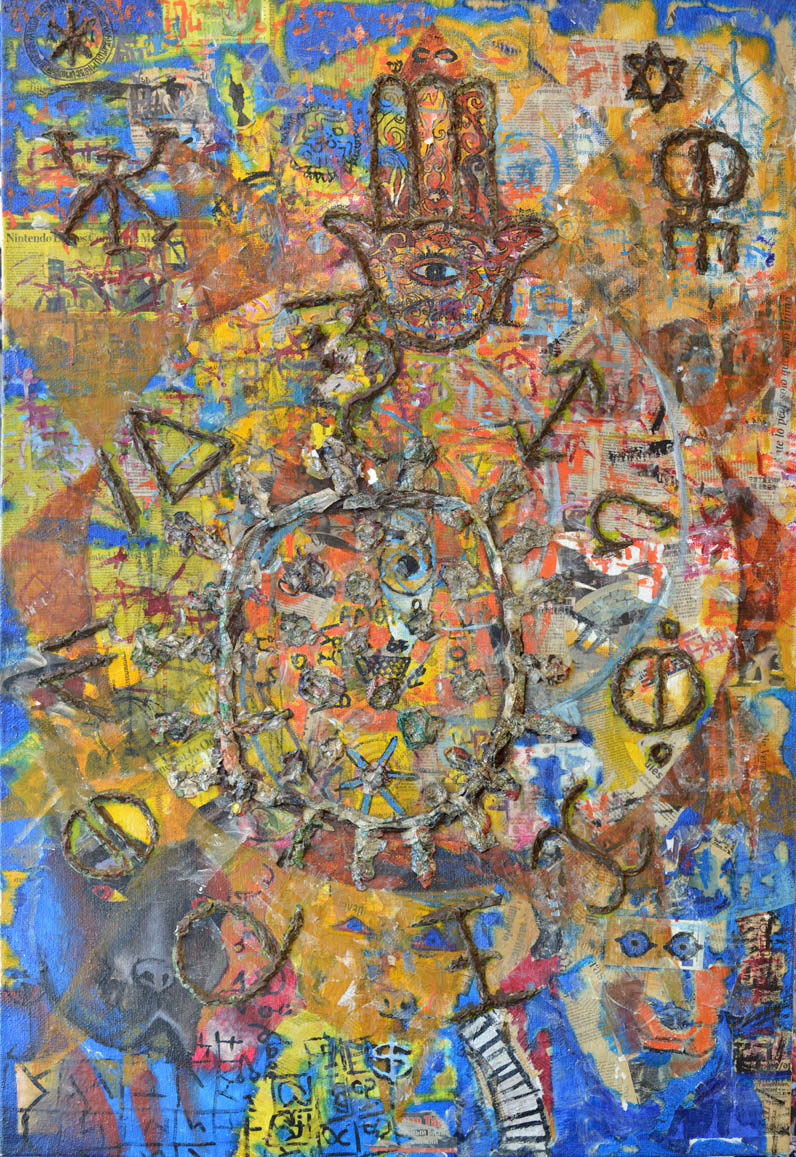 Teorías conspirativas de todo el mundo/Mix-Collage auf Jute/150x100cm.(Als Original verfügbar)