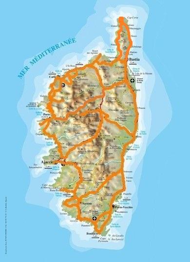 Routen Korsika, Korsika Karte, Korsika Strassenkarte