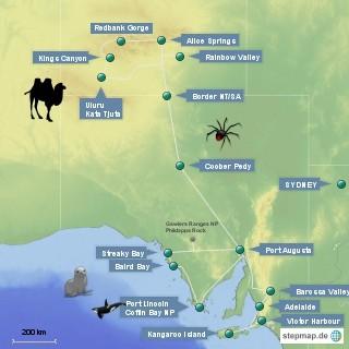 Route Karte Red Center, South Australia, Kangaroo Island, Stuart Highway, Coober Pedy, Red Center, Uluru, King's Canyon, Katatjuta, Alice Springs, Sydney, Adelaide, Eyre Peninsula, Port Lincoln, Streaky Bay