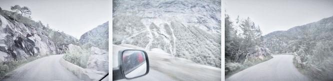 Das ist er, der Anfahrtsweg nach Trolltunga (bei -10 Grad Temp.): Von Odda kommend über die RV13 den Tunnel passieren, rechts nach Tyssedal und Skjeggedal. Hier die 7 Kilometer lange, enge Bergstraße, die sich direkt zum Parkplatz Mogelii hinauf windet…