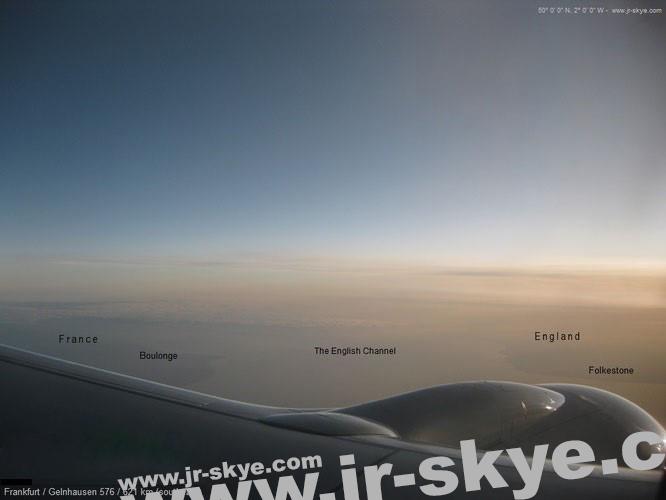 """""""The English Channel"""" (50° 0′ 0″ N, 2° 0′ 0″ W) - festgehalten während einer meiner Flüge von Frankfurt nach Glasgow..."""